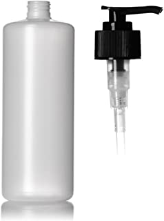 32 Ounce Natural HDPE Plastic Round Bottle with Black Hand Pump (1 Pack)