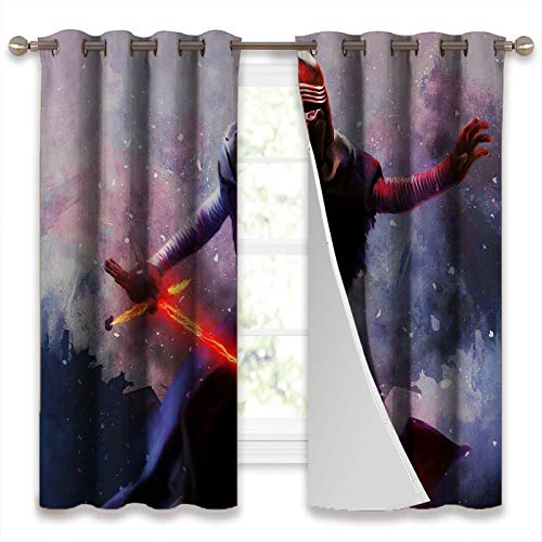 SSKJTC Thermal Insulated Curtains Blackout Draperies Lightsaber Of Kylo Ren Star Wars Movie Drapes for Living Room W106xL115cm