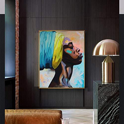 Geiqianjiumai Acuarela Abstracta Arte Mujer Africana Retrato Lienzo Pintura Arte y póster Pintura Sala decoración decoración Pintura sin Marco 50x75 cm