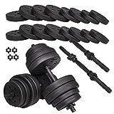 SPRINGOS Set di manubri corti per allenamento di forza, pesi e manubri, attrezzatura sportiva, per fitness, bodybuilding (nero, 30 kg)