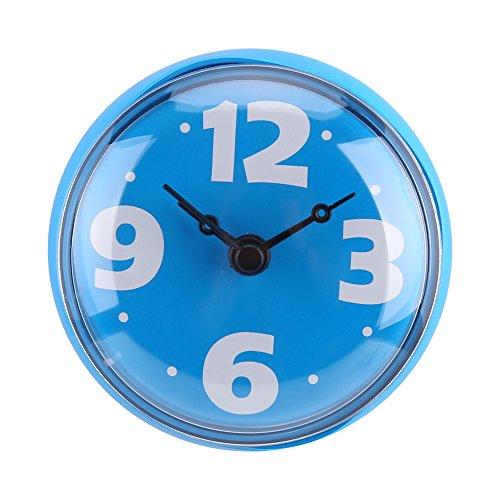 Water Resistant SUction wandklok badkamer klok mini waterdicht horloge met rustige sweep Movement venster spiegel badkamer douche badkamer accessoires blauw