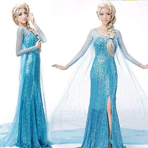 NiQiShangMao Disfraz de E-LSA para Mujer Adulta de Halloween, Vestido de Fiesta de Lujo para Fiesta de Navidad Cosplay Azul Ropa de Mujer Sexy