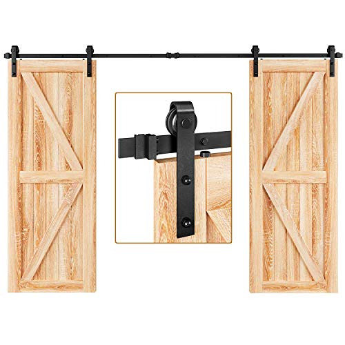 EaseLife 10 FT Double Door Sliding Barn Door Hardware Kit,Heavy Duty,Ultra Hard Sturdy,Easy Install,Slide Smoothly Quietly,Fit Double 30' Wide Door (10FT Track Double Door Kit)