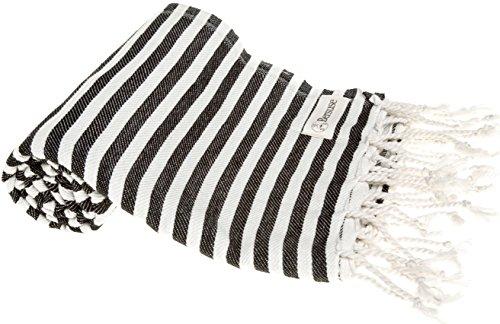 Bersuse 100% Algodón - Malibu Toalla Turca - Fouta Toalla de Baño y Toalla de Playa - Oeko-Tex - 95 x 175 cm, Negro (Conjunto de 6)
