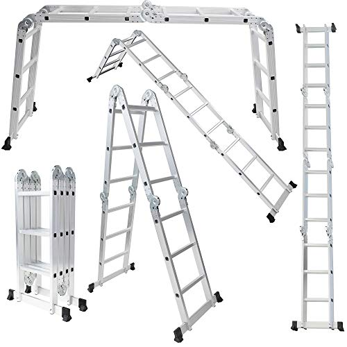 OxGord AluminumMultiFoldingLadder  Lightweight and SafetyHeavyDuty Extension DualHeight 125 feet 330 lb Max Capacity