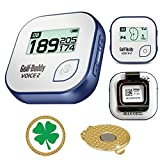 GolfBuddy Voice 2 Golf GPS/Rangefinder Bundle with Ball Marker and Magnetic Hat Clip (Clover)