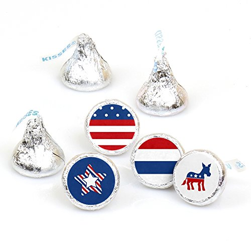 Election Democrat - Democratic Political 2020 Election Party Round Candy Sticker Favors - Labels Fit Hershey's Kisses (1 Sheet of 108)
