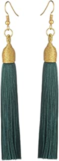Boho Thread Long Tassel Dangle Drop Fringe Earrings Silk Fabric Vintage Charms Eardrop (Blackish Green)
