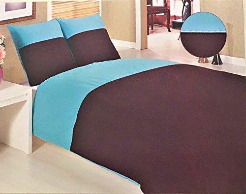 Salomé Prestige Housse de Couette + taies d'oreiller 100% Coton Biais Bicolor Ornella-140x200-chocolat Turquoise