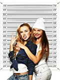 Mugshot Backdrop Photo Booth Banner 4.9 x 4.3 ft, Police Lineup Height Charts Photo Props Background Accurate Measurements Poster for Bachelorette Girls Night Out