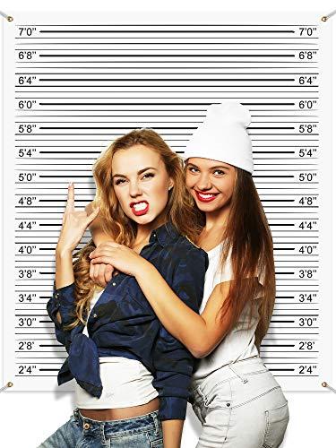 Polizeifoto Hintergrund Foto Stand Banner 4,9 x 4,3 ft, Polizei Ausrichten Höhe Diagramme Foto Requisiten Hintergrund Genaue Messungen Poster für Bachelorette Mädchen Ausgehabend