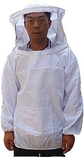 鉄壁 防護服 養蜂 害虫駆除 虫よけ フェイスネット 付き (ホワイト)