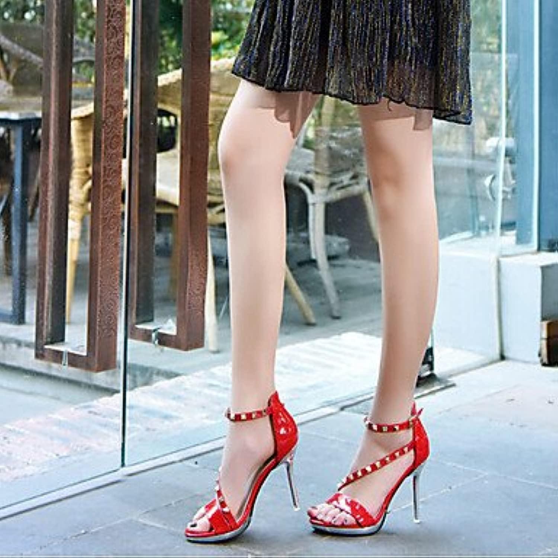 LvYuan-GGX Damen High High Heels Fersenriemen PU Frühling Normal Fersenriemen Schwarz Rot Mandelfarben 7,5-9,5 cm, Almond, us7.5   eu38   uk5.5   cn38  Wählen Sie aus den neuesten Marken wie