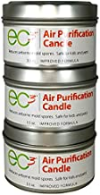 EC3 Air Purification Candles, 3-Pack, Reduce Mold Count Levels in Indoor Air, Natural, No Added Fragrance, Botanical Ingredients in Soy Wax