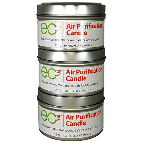 EC3 Air Purification Candles, 3-Pack, Natural, No Added Fragrance, Botanical Ingredients in Soy Wax