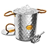 LIVIVO Galvanised Steel Ice Bucket with Insulated Lid & Convenient Cubes Scoop – Jute Rope Carry Handles – Ideal for Bar Cold Soft Whisky Alchol Spirits Drinks Cocktail Parties
