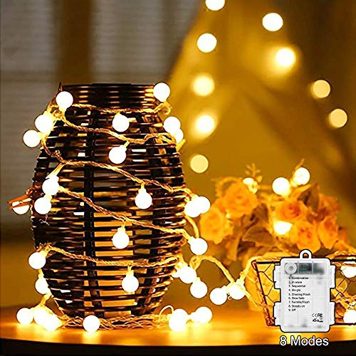 Lamantt LED String Lights, 6M 50 LED Globe Lights 8 Modes Waterproof Battery Operated Warm White Fairy Light for Party, Gazebo, Holiday Wedding Bedroom Indoor & Outdoor 3 x AA Battery Powered