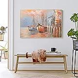 ganlanshu Pintura sin Marco Arte Lienzo Pintura mar Barco Puerto Paisaje Pared Arte Imagen para Sala decoración del hogar ZGQ4951 50X75cm