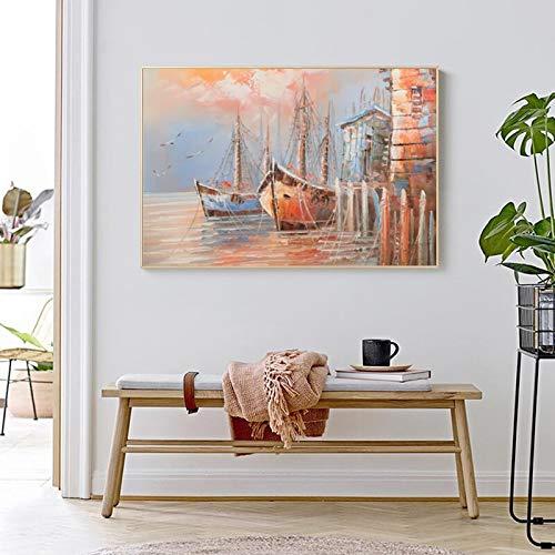 Rahmenlose Malerei Kunst Leinwand Malerei Seeboot Hafen Landschaft Wandkunst Bild für Wohnzimmer Home DecorationZGQ4950 40X60cm