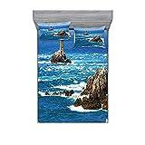 Lighthouse - Juego de sábanas y fundas de almohada, diseño de faro diurno ondulado, vista al océano y velero de las islas rocosas, estampado decorativo de 3 piezas, tamaño king, color azul y gris