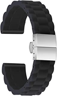 Ullchro Silicone Watch Strap Replacement Rubber Watch Band Waterproof Link Pattern - 16mm, 18mm, 20mm, 22mm, 24mm Watch Bracelet with Stainless Steel Deployment Buckle