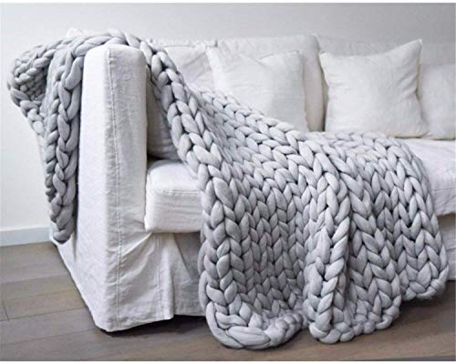 FFXN Chunky Knit Blanket Merino Wool Arm Knitted Throw Soft and Huge Throw,Bed Chair Sofa Yoga Mat Rug
