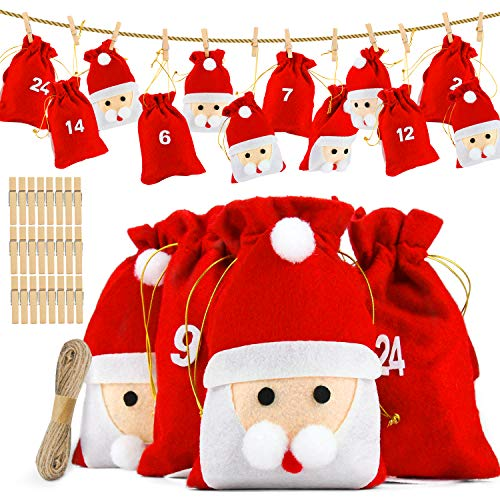 Dusor Adventskalender zum Befüllen, 24 Nikolaus Säckchen mit Zahlen, Weihnachtskalender zum Befüllen, Stoffbeutel zum Selber Dekorieren, Adventskalender 2020