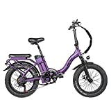 Rattan 48V 750W Electric Bike for Adults 4.0 Fat Tire Bikes Folding Bikes 13AH Removable Lithium-ion Battery E-Bikes Shimano 7-Speed Shifter Electric Bicycle Low Step Across ebikes (Black Purple)