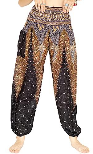 Cottona Rose, Buddha Pants for Women, Genie Pants, Gypsy Pants, Thai Pants, Elephant Pants, Hippie Pants, Boho Pants, Peacock (HPeMi Midnight)