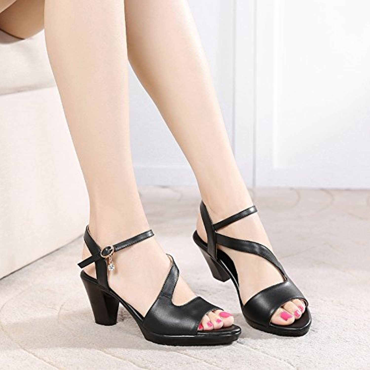 GTVERNH-in Summer 6Cm High Heels Sandals Thick Heels Middle Heels Mama Fish Mouths Middle Aged Women's shoes.