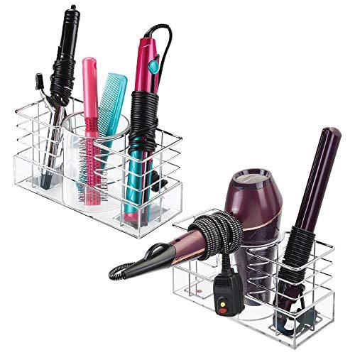 mDesign porta arricciacapelli – organizer ideale per asciugacapelli, piastra per capelli – colore acciaio cromato - 3...