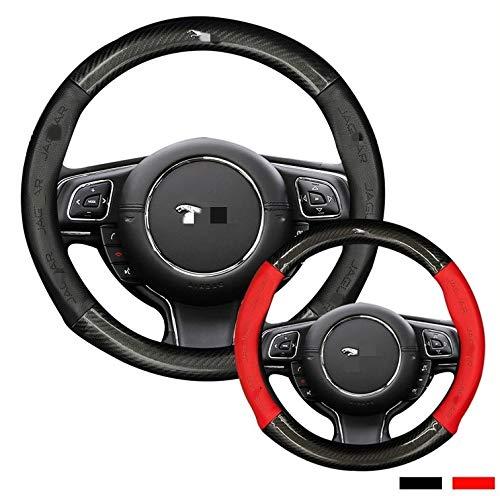 Hcxh-A passend für Jaguar XF XE F PECE XJ x Ruitar E Pace Logo S-Typ, Kohlefaser-Kuh-Leder-Auto-Lenkrad-Abdeckung (Color Name : 40cm Black)