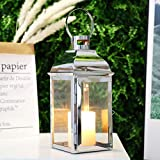 """JHY DESIGN Silver Decorative Lanterns 12 3/5"""" High Stainless Steel Candle..."""