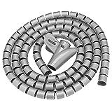 JJDD - Tubo de alambre en espiral de polietileno con clip para cable de ordenador, cable de coche, cable de TV, color negro