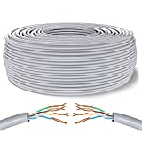 Mr. Tronic 200m Cable de Instalación Red Ethernet Bobina | CAT6, AWG24, CCA, UTP | LAN Gigabit de Alta Velocidad | Conexión a Internet | Ideal para PC, Router, Modem, Switch, TV (200 Metros, Gris)