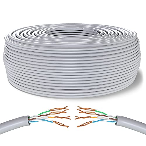 Mr. Tronic 75m Cable de Instalación Red Ethernet Bobina | CAT6, AWG24, CCA, UTP (75 Metros, Gris)