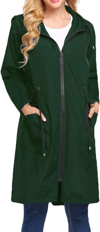 Zantt Womens Raincoat Casual Hooded Windbreaker Waterproof Jacket with Pockets