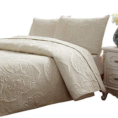 Brandream Beige Quilted Comforter Set Queen Size Bed Quilt Set 100% Cotton Farmhouse Paisley Stitching 3-Piece