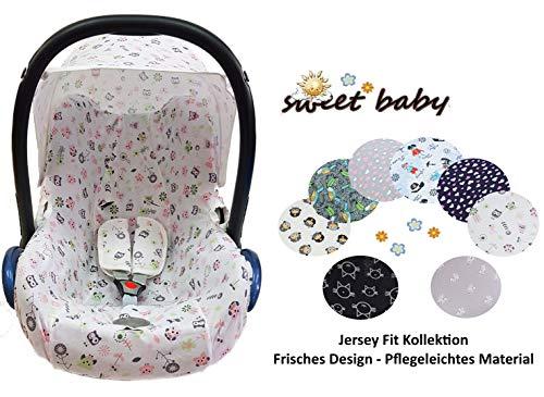 Sweet Baby ** 100% Jersey Fit ** KomplettSet Schonbezug/Hoody/Verdeck/Gurtpolster für Babyschale Maxi-Cosi Cabrio, Pebble und andere (3er Komplettset, Owls)