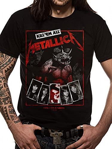 Metallica Hardwired Album Cover_Men_bl_TS: L Camiseta, Negro (Black Black), Large para Hombre