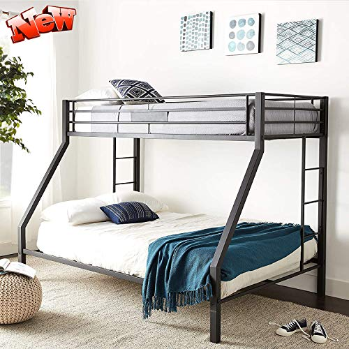 DANGRUUT Upgraded Version Thicken Metal Bunk Beds, Best Industrial Bunk Bed, Heavy Duty Bed Frame with Side Ladder and Safety Rails for Kids Girls Boys, Teens and Adults (Twin XL Over Queen)