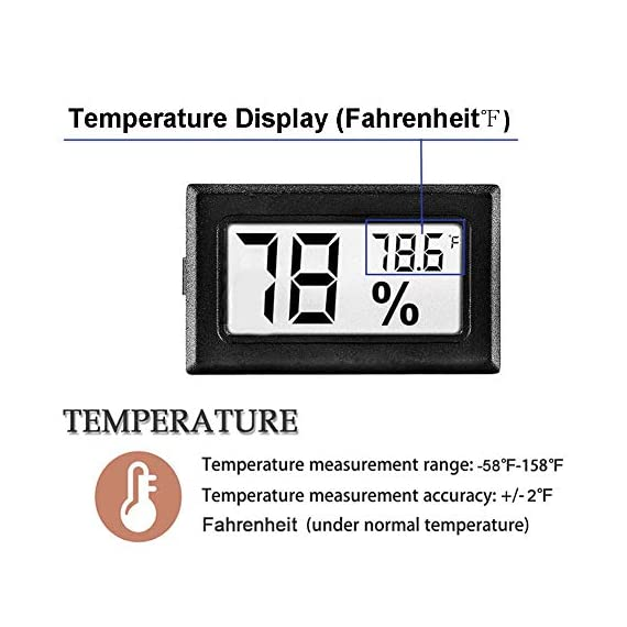 Meggsi 2-pack mini digital hygrometer gauge indoor thermometer, lcd monitor temperature outdoor humidity meter for… 2 mini, durable and portable, measuring humidity and temperature for indoor/outdoor. Fast response that measures every 10 seconds with 24 sensitive vents to provide updated and accurate readings. Fahrenheit (℉) display, this thermometer displays temperature in fahrenheit(℉). Comes with a gift kit (extra lr44 batteries+double-side tapes). Measuring humidity range :10%-99%rh, measuring humidity accuracy: +/-5%.