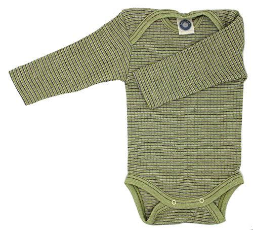 Cosilana Baby Body 1/1 Arm, Größe 86/92, Farbe Grün-Pflaume-Natur - Exclusiv Wollbody®GmbH - Qualität 91 45% Baumwolle KBA, 35% Schurwolle kbT, 20% Seide