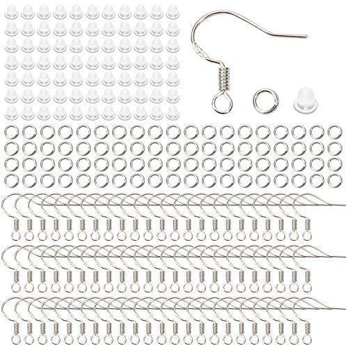 TOAOB 100 Stück 18x16mm Versilbert Ohrring Haken Ohrhaken Fischhaken und 100 Stück 4mm Öffnen Sprung Ringe mit 100 Stück Plastik Ohrstopper für Ohrhänger Schmuckherstellung