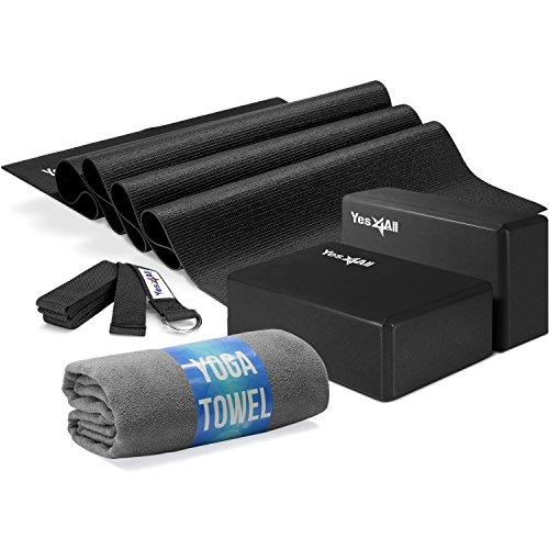 Yes4All Yoga Starter Kit – Include: 2 Yoga Blocks, Yoga Strap with D-ring, Yoga Towel & PVC Yoga Foam Mat – Yoga Kit for Beginners (Black)