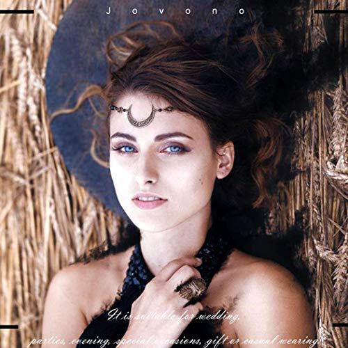 Jovono Cadena para la cabeza Boho con cristal y patrón hueco decorativo para el pelo, accesorios para el pelo para mujeres y niñas (plata + negro)