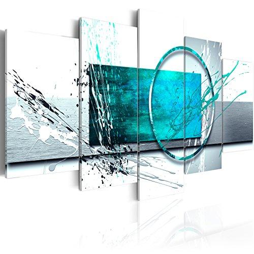 murando Acrylglasbild Abstrakt 200x100 cm 5 Teilig Wandbild auf Acryl Glas Bilder Kunstdruck Moderne Wanddekoration - Farbflecken türkis weiß a-A-0012-k-p