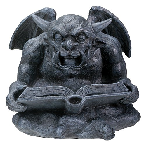 Summit Collection Reading Gargoyle - Collectible Figurine Statue Sculpture Figure Model, Grey