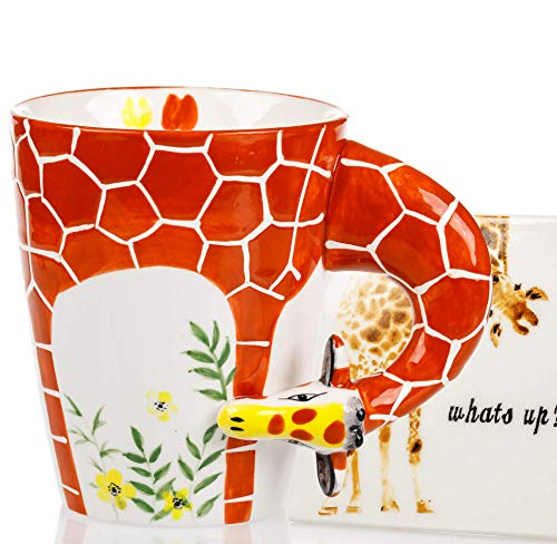 Giraffe Mug & Coaster Set - Unique Hand Painted Novelty 3D Ceramic Giraffe Coffee Mugs . Includes Cute Coaster With a Fun what's up phrase. A Cool Cup for Coffee Tea or Kitchen Bedroom Decor
