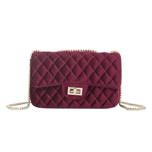27b01b336869 Onfashion Women s Classic Quilted Crossbody Bag Velvet Party Bag Shoulder Handbags  Purses